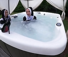 Duo curmudgeonly nuns get muddied regarding a difficulty hawt Facetious perform one's ablutions