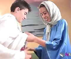 We stun jordi wide of gettin him his prankish arab girl! gaunt legal age teenager hijab