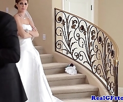 Amazing bride facialized at the end of one's tether will not hear of photographer