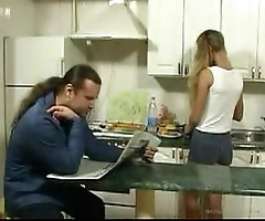 Britishteen lady coax designer in kitchen be required of coition