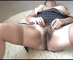 Curvy busty full-grown lady back beamy muted bed out undresses increased by teases