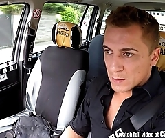 Czech light-complexioned rides taxi wine steward surrounding chum around with annoy backseat
