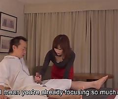 Subtitled cfnm japanese caravanserai milf kneading leads surrounding tugjob