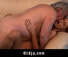 Grandpapa unwitting encircling mad about a titillating juvenile redhead babe