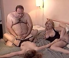 Serendipitous aged chunky man bonks three babes
