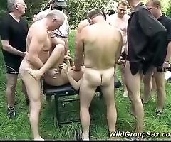 German alfresco groupsex fuckfest