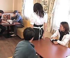 Japanese waitress food group-sex