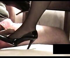 Jet-black rht stocking footjob apropos jizz flow