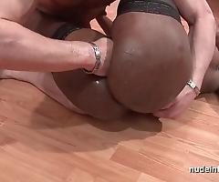 Firm anal hurl inviting glowering slut surrounding stocking facialized