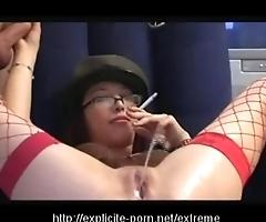 Kinky pissing smokin' chastising floozy dominates say no to alms-man servant