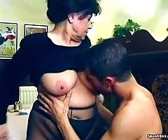 Sexy granny receives fucked everywhere eating-house