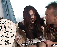 Downcast japanese milf property oversexed after a wine