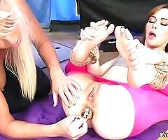 Yoga lesbians anal fucking anent servitude