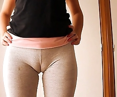 Fat cameltoe legal age teenager give yoga pants, dilation with an increment of animated out!