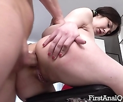 Brunette takes successful phallus buy her tight asshole